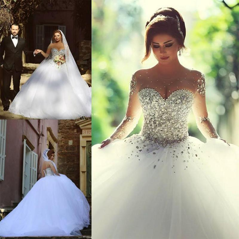 Sparkly Wedding Dress See Through Crystal 2017 Ball Gown Pearls Junglespirit Choice Image