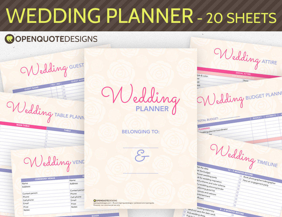 wedingwedding planning worksheets pdf diy checklist printable