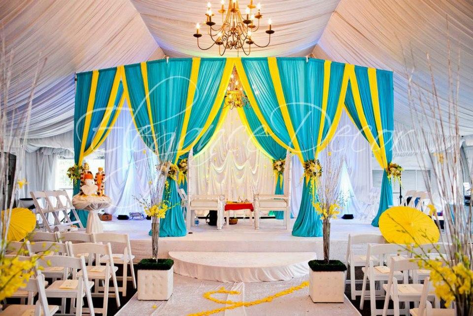 Turquoise Yellow Fabric Mandap By Elegance Decor Chicago Www