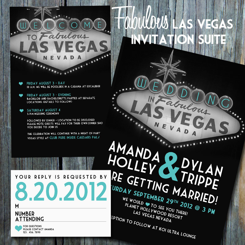 Las Vegas Wedding Invitation Wording: Vegas Wedding Invitations