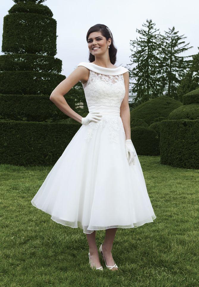 Vintage Style Tea Length Wedding Dress