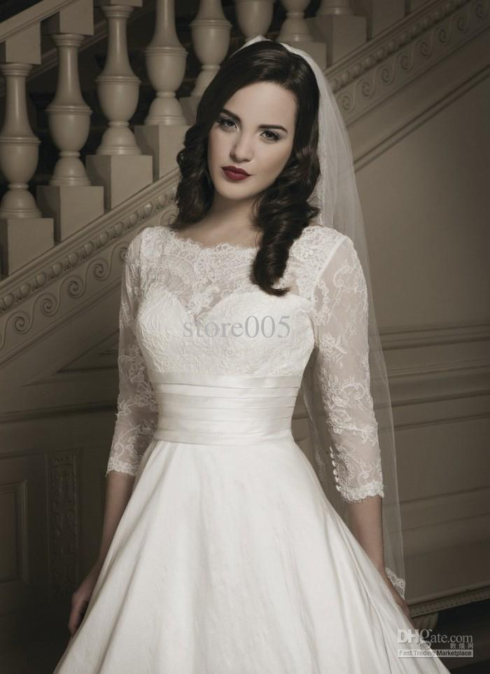 Modest Wedding Dresses With Lace Sleeves - Missy Dress