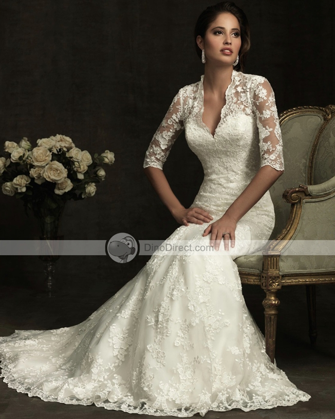 Wedding Dress With Collars