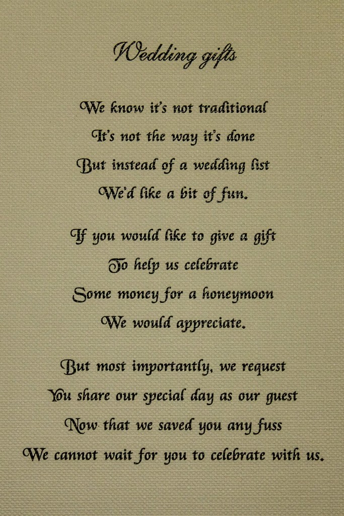 Honeymoon Poem For Wedding Invites