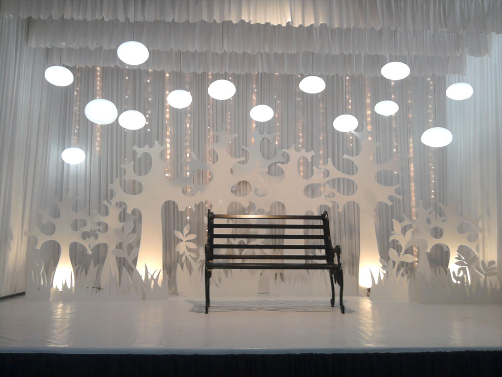 White Wedding Stage Decoration