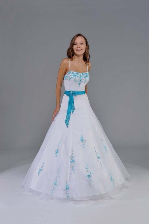 White And Teal Wedding Dress
