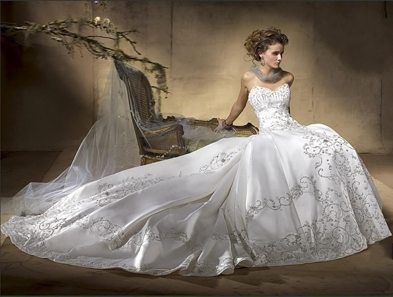 Wedding Dress Silver Embroidery