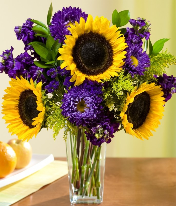 Yellow Wedding Flowers Ideas: Sunflower And Purple Wedding