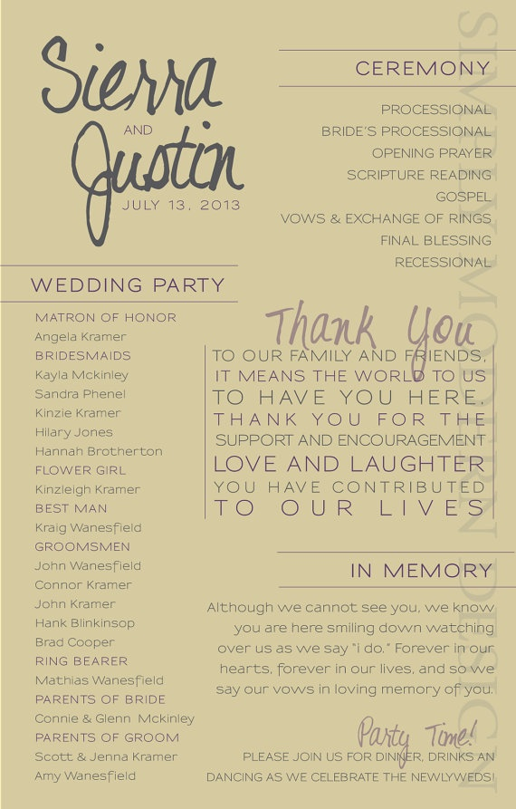 Wedding Ceremony Booklet Covers
