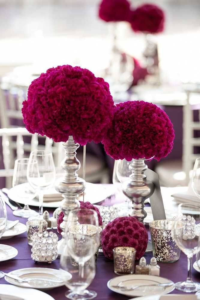 Burgundy wedding centerpieces