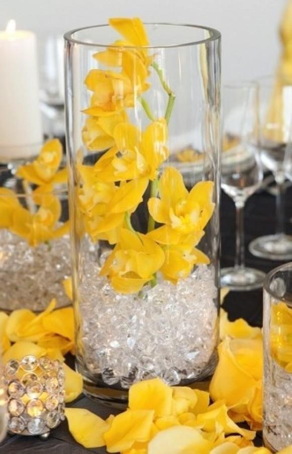 Yellow wedding decorations ideas image collections wedding yellow and blue wedding centerpieces image collections wedding junglespirit Image collections