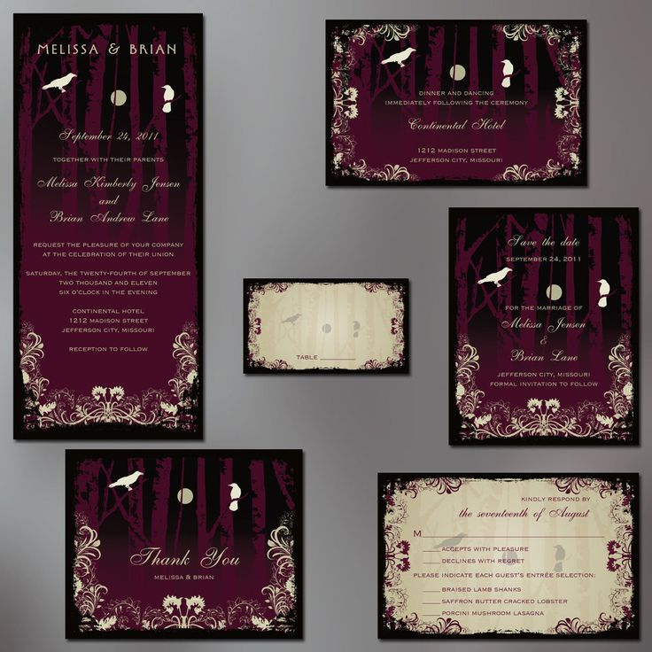 Gothic Wedding Invitations – Elegant Halloween Wedding Invitations
