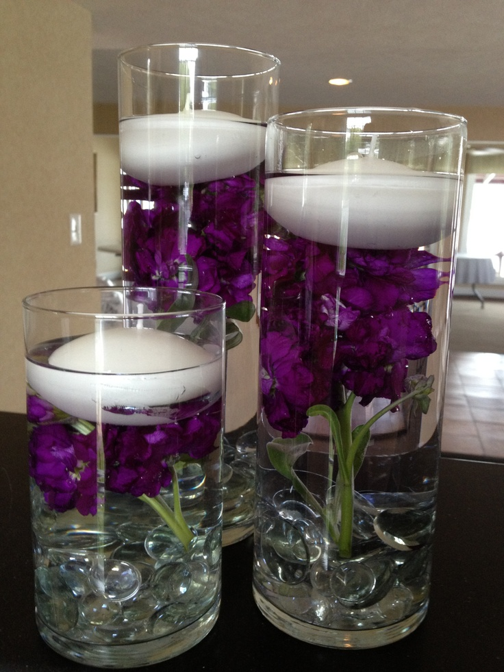 Dark purple wedding table decorations