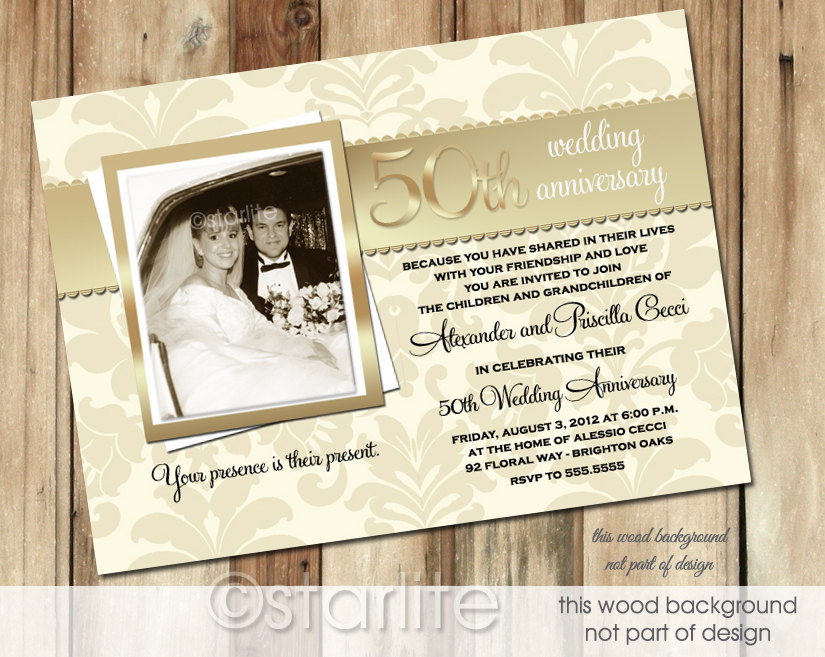 vintage 50th wedding anniversary invitations