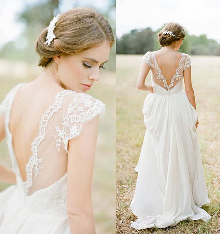 Aliexpress Com Buy 2017 Sheer V Neck Lace Beach Wedding Dresses