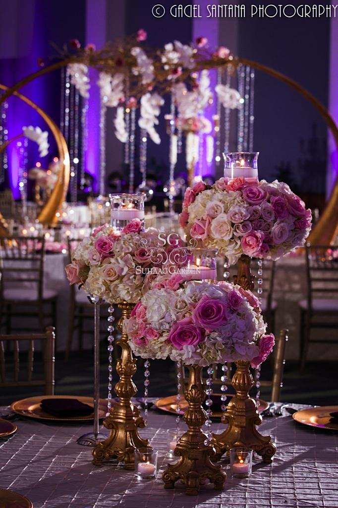 Purple and gold centerpieces for weddings