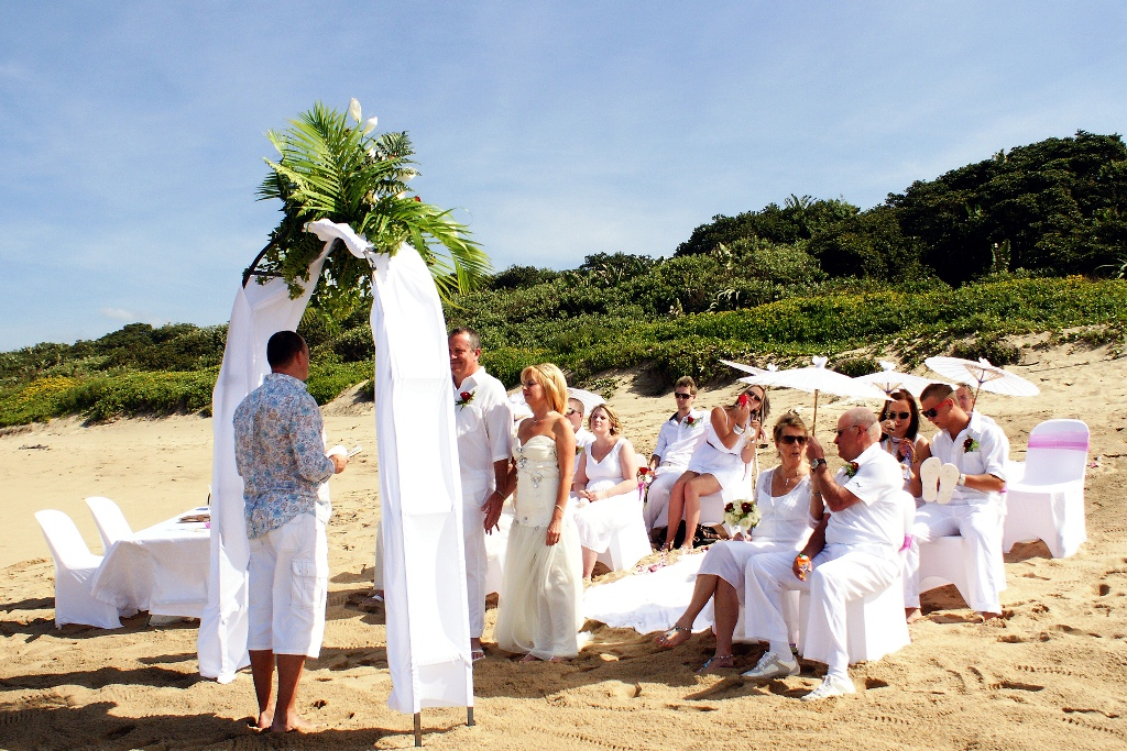 All White Beach Wedding Attire