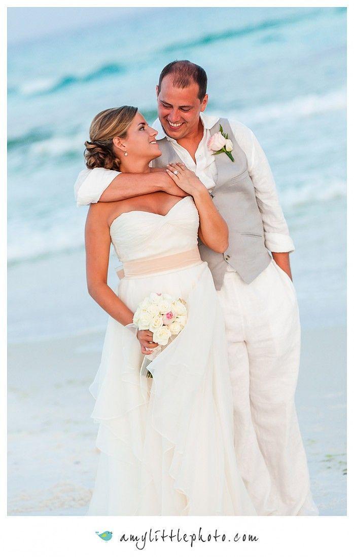 Beach Wedding Flowing Ivory Chiffon Dress Groom S Attire