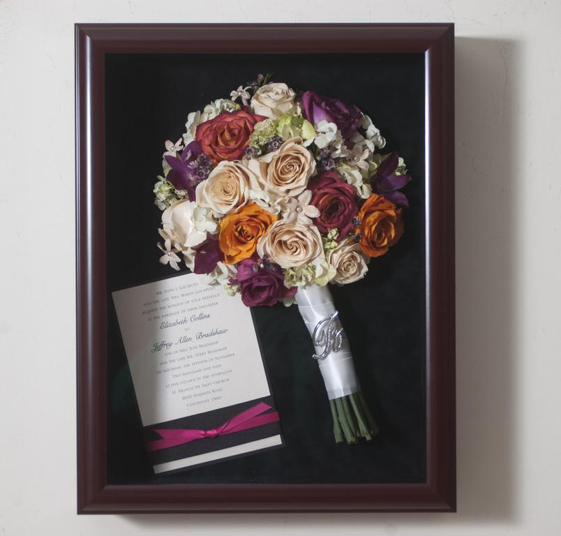 Bouquet And Invitation Shadowbox Preserved Flowers By Fleur A