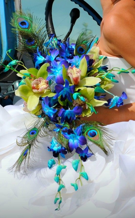 Peacock Themed Wedding Bouquets And Blue Flowers On Emasscraft Org