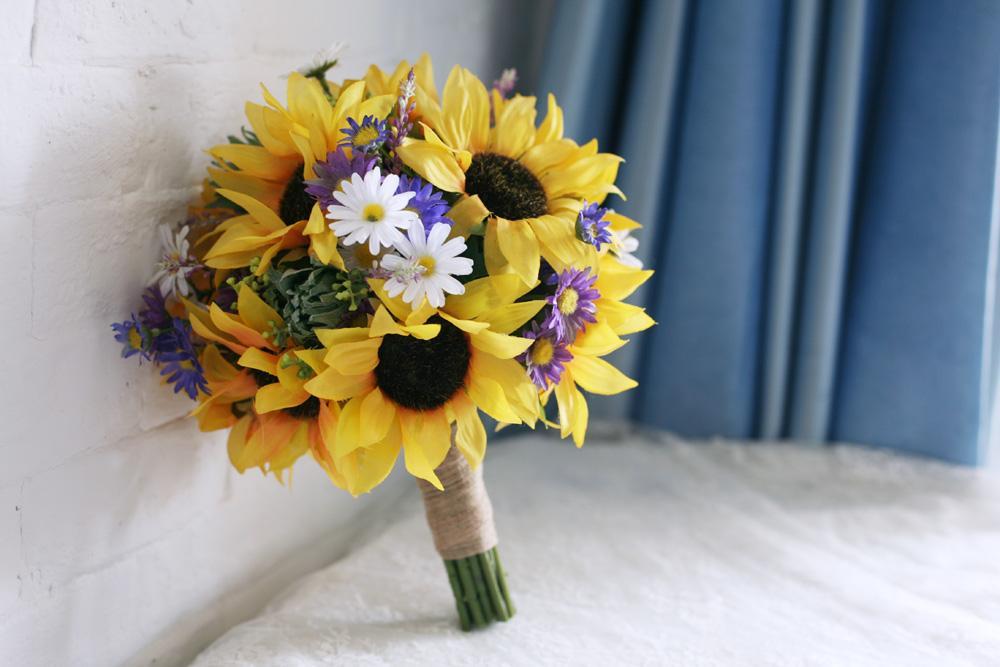 Bridal wedding bouquet 2015 yellow sunflowers white purple daisy bridal wedding bouquet 2015 yellow sunflowers white purple daisy emasscraft mightylinksfo