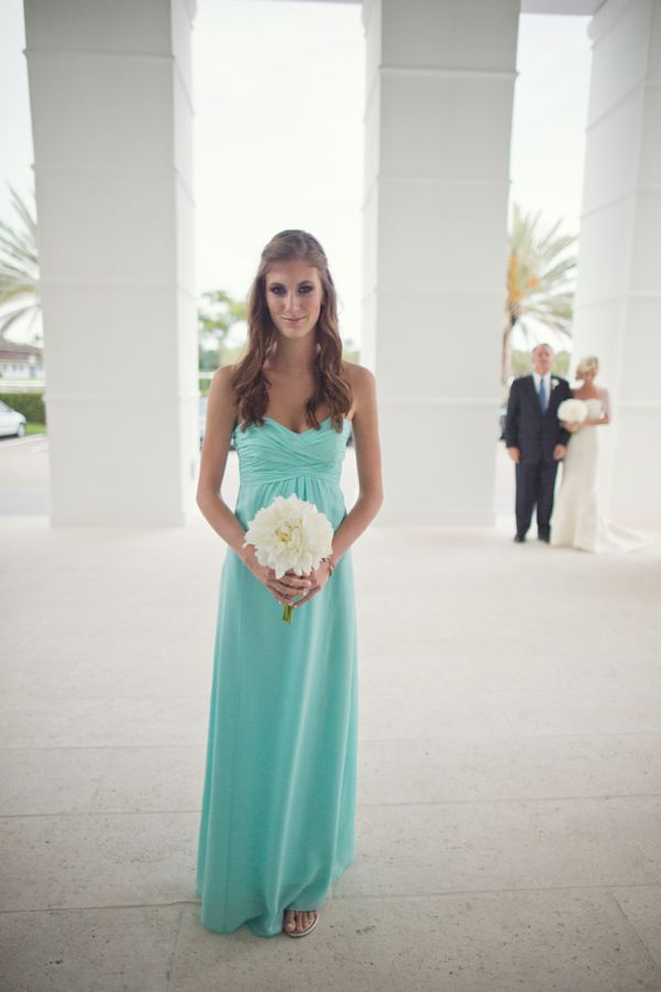 Crisp White And Turquoise Central Florida Wedding Dresses