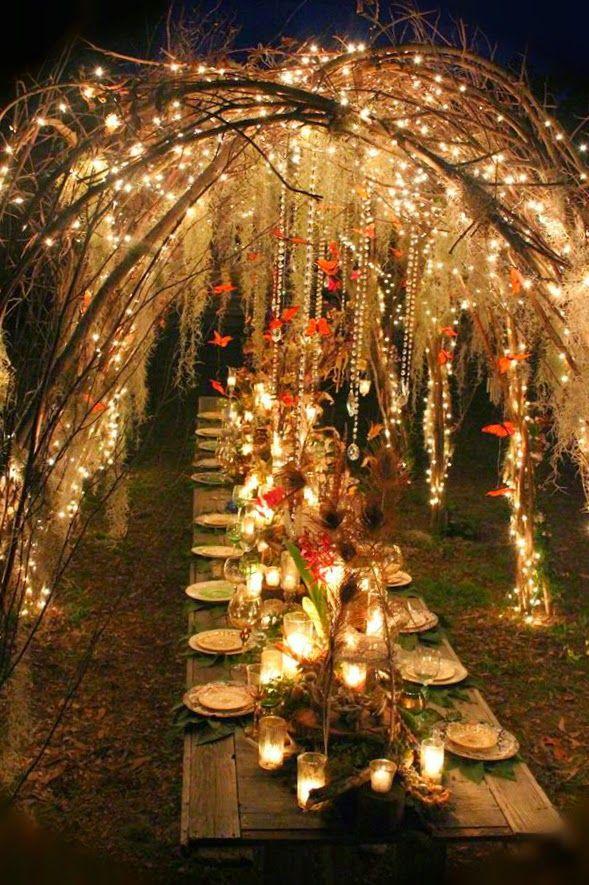 Tree Lights Outdoor Wedding
