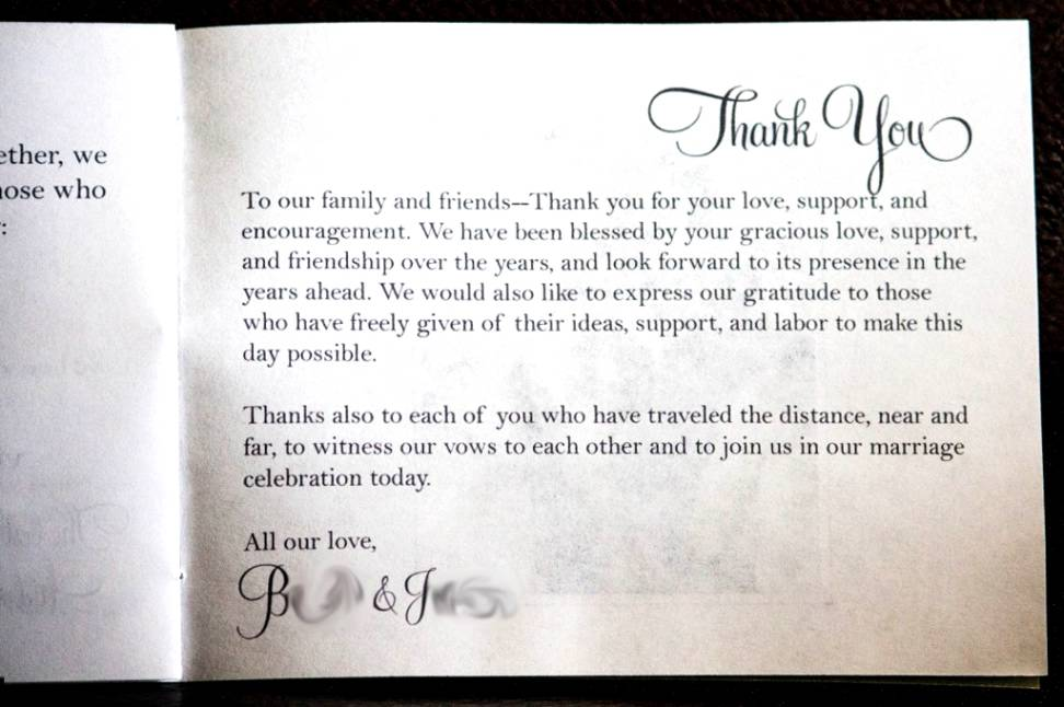 Thank Letter To Parents For Wedding