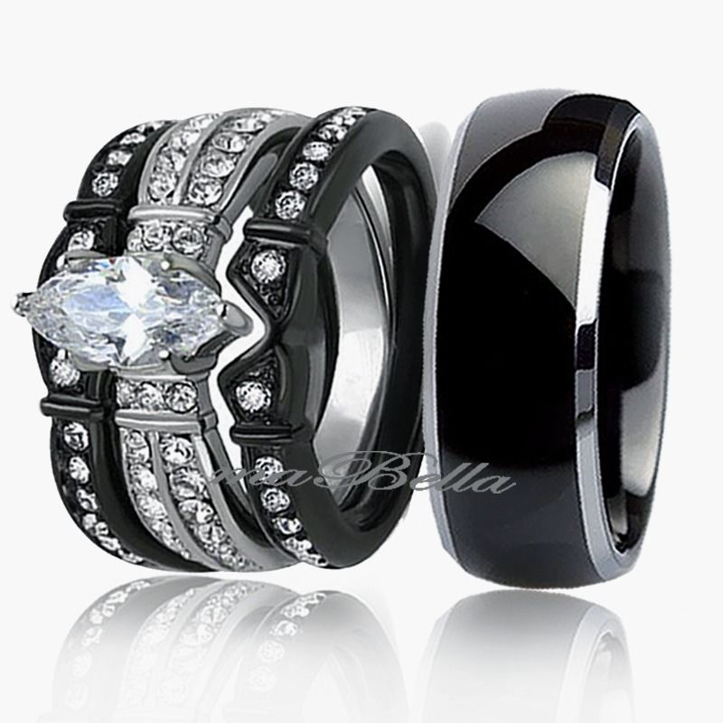 Her His 4pc Silver Black Stainless Steel Titanium Wedding Ring