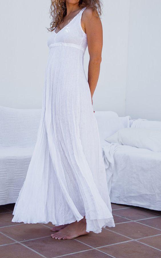 White Linen Dress For Beach Wedding