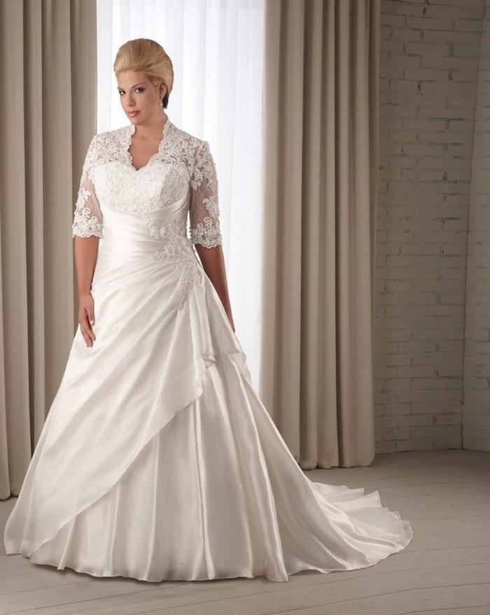 Mature Women Wedding Dress Empire Straps Floor Length Beading