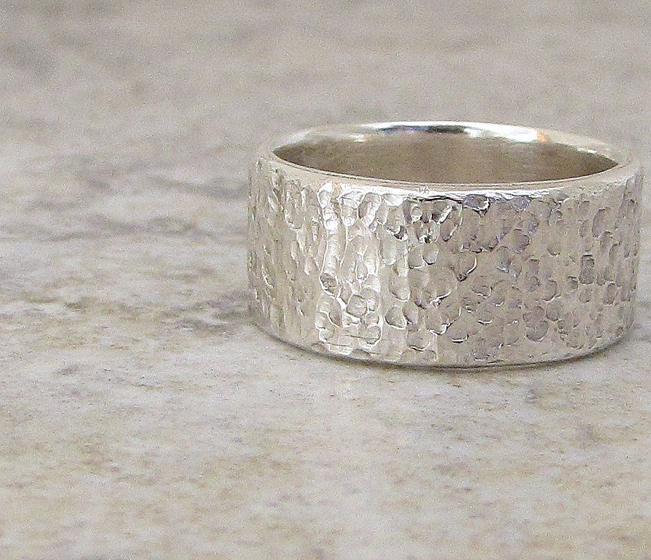 Mens Silver Ring Hammered Wedding Band Distressed Wide Thick