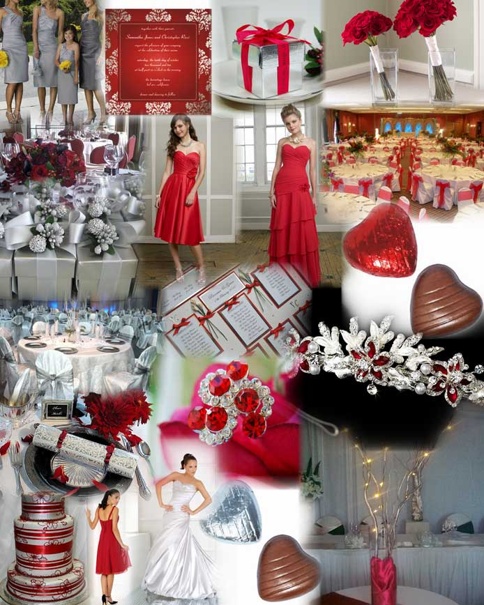 Neon Wedding Reception Table Decorations Red Silver White Black