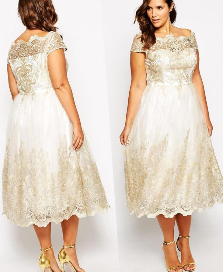 Plus Size Wedding Dresses With Sleeves Tea Length Emasscraft