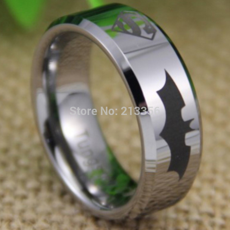 laser free com new aliexpress on black wedding shipping rings sign jewelry polish carbide men blue item in tungsten superhero ring superman accessories from