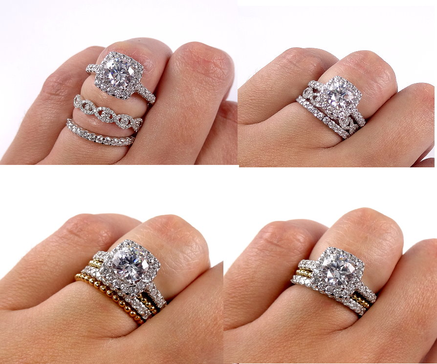 wedding for set three ring match bands stone princess cut engagement rings band and