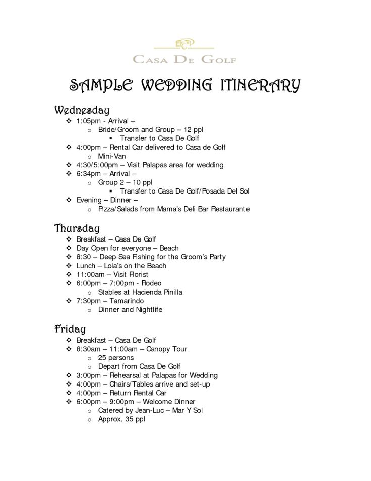 Itinerary For A Wedding - Wedding invitation templates: free wedding itinerary template