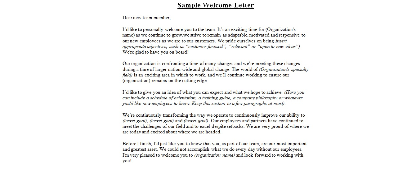 Sample Wedding Welcome Letterbusiness Letter Examples