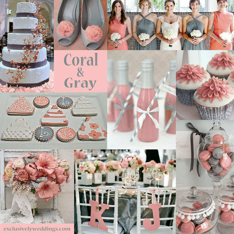 Coral and grey wedding centerpieces image collections wedding coral and grey wedding centerpieces images wedding decoration ideas junglespirit Images