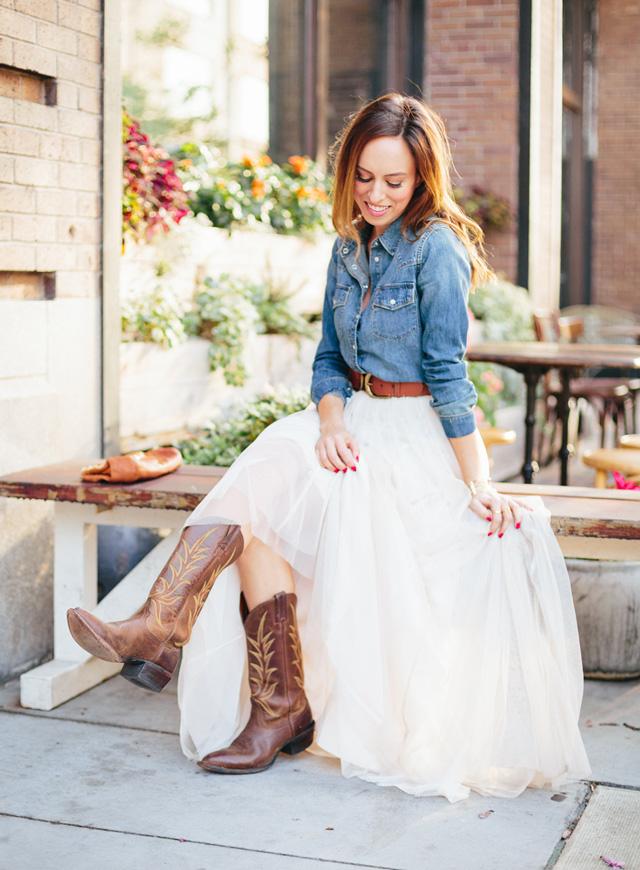 Western Denim Wedding Dress Rustic Sydne