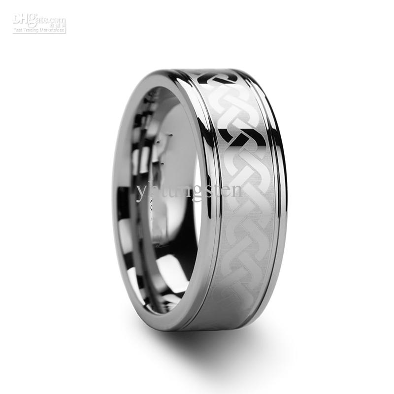tungsten carbide celtic ring mens jewelry wedding band silver lase - Celtic Mens Wedding Rings