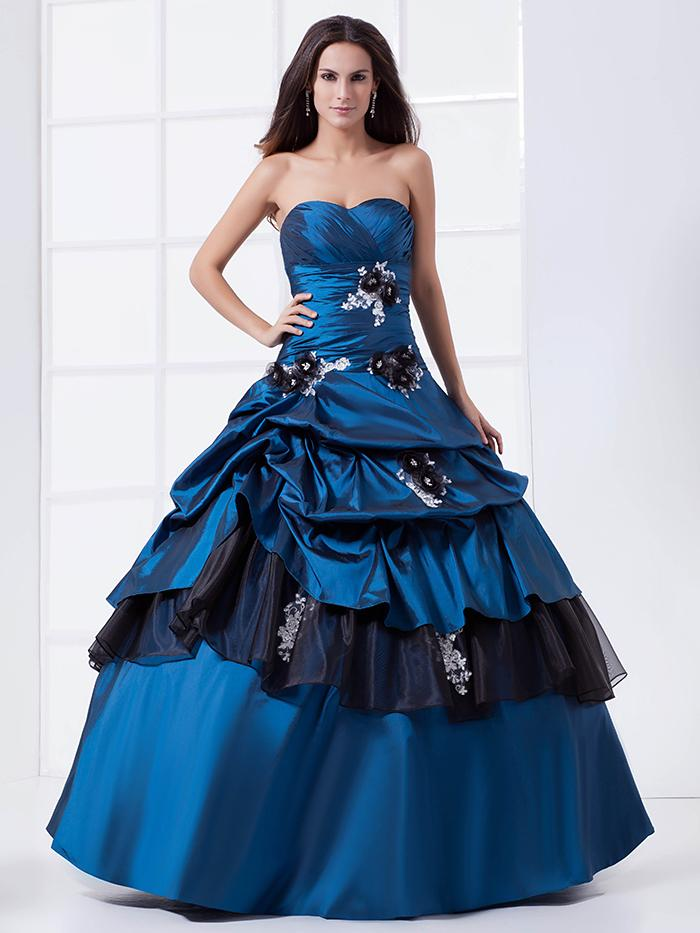 Merveilleux Two Tones Royal Blue Black Ball Gown Prom Wedding Dresses Non