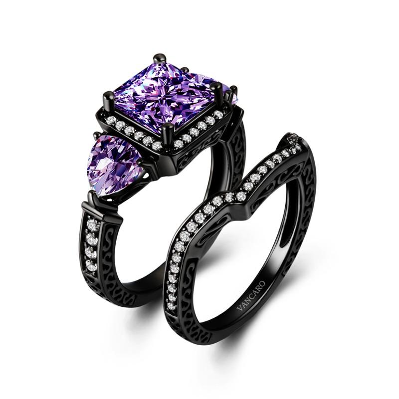 Black And Purple Wedding Rings