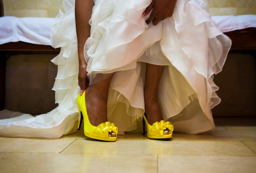 Wedding Dress Yellow Shoes