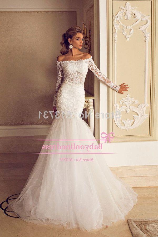 Mermaid wedding dress with sleeves for Wedding dresses off shoulder sleeves