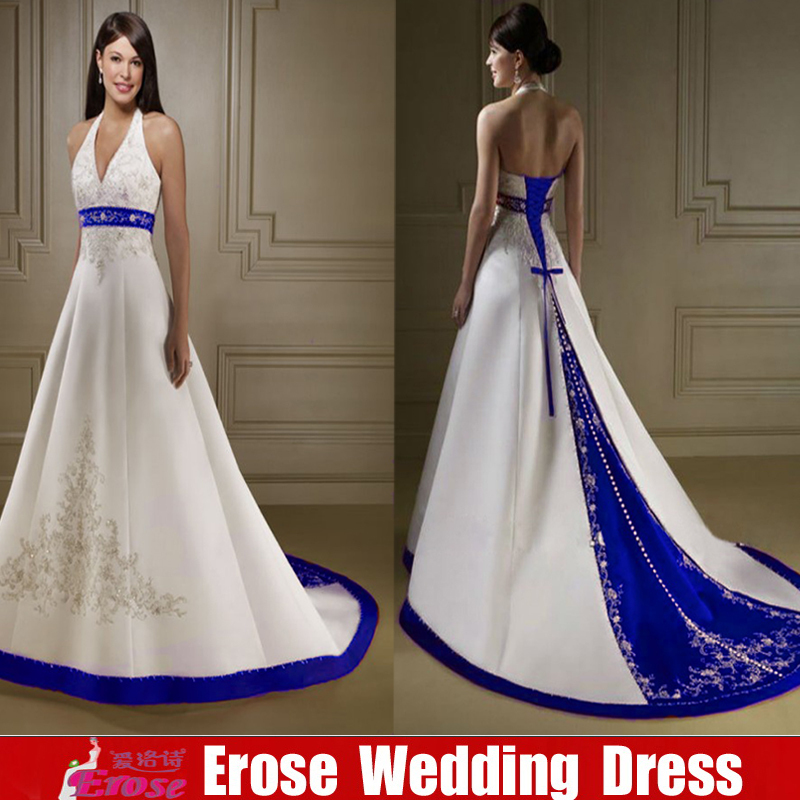 Royal Blue And White Wedding Dress