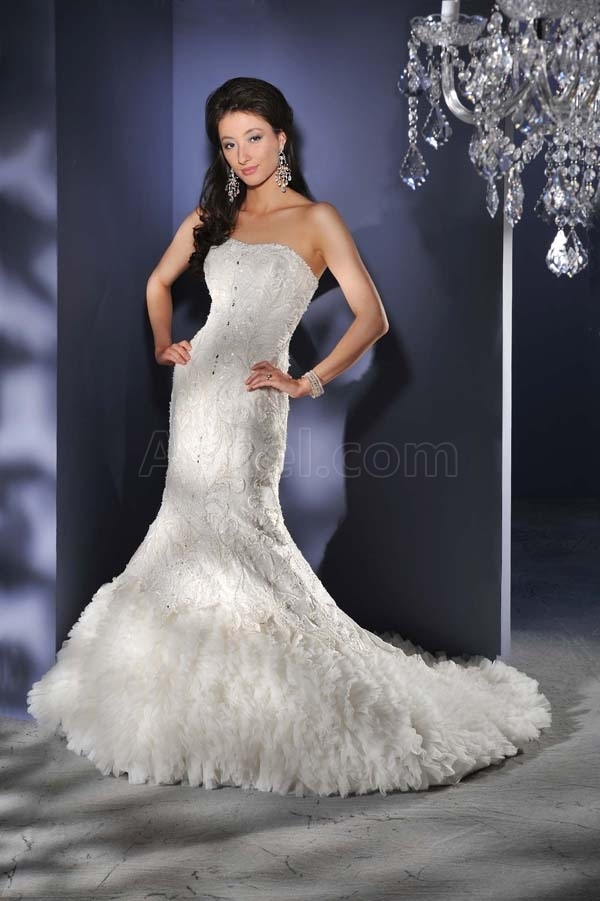 Wedding Dresses With Feathers Feather Skirt Wedding Gown ...