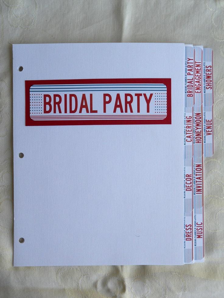 Wedding Binder Dividers