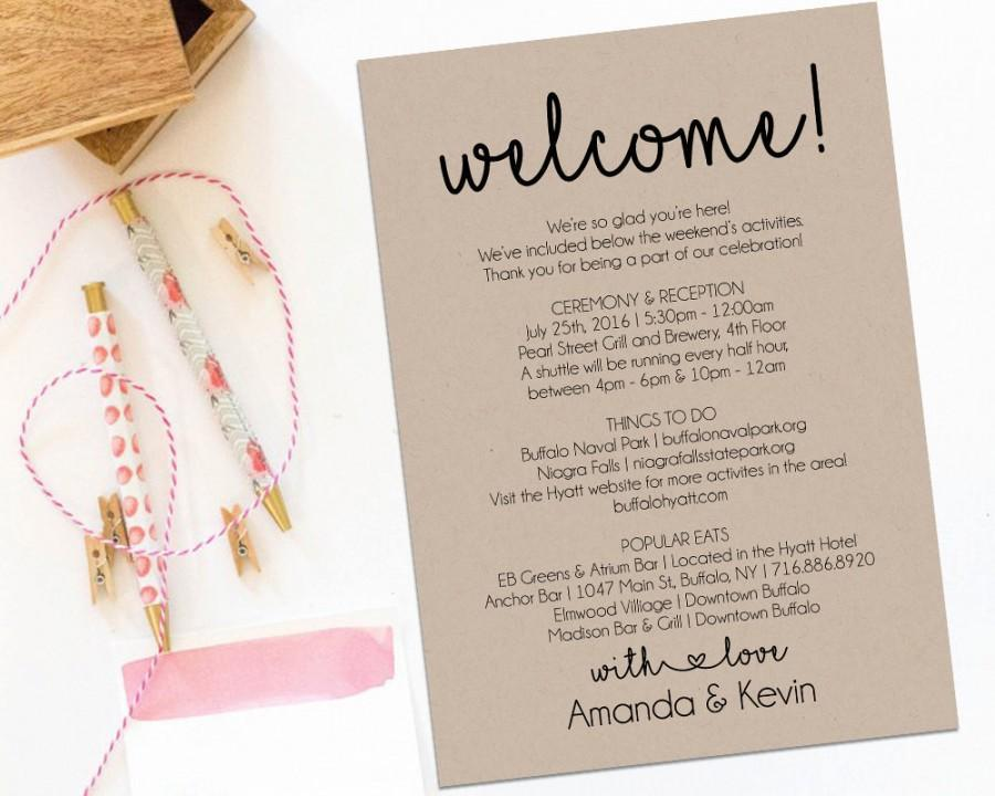 Wedding Welcome Letter Sample