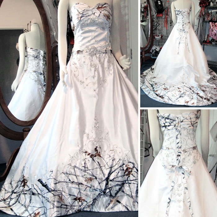 White With Camo Wedding Dresses : White camo wedding dress